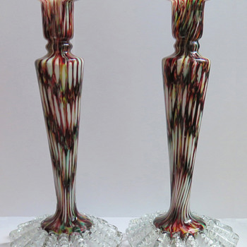 Matching Welz Candlesticks - Rainbow Honeycomb Décor - Art Glass