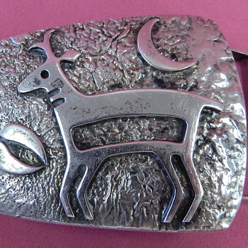 VINTAGE HOPI SILVER BELT BUCKLE W/MYSTERY MARK SIGNATURE - Native American