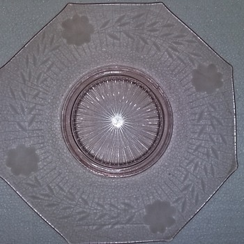 Octagon shaped flower etched depression glass dish - Glassware