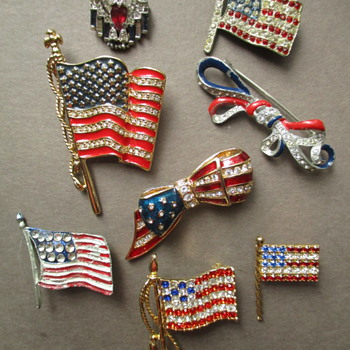 Patriotic Flag Jewelry Happy 4th of Jewelry Trifari, Carolee, Eisenberg, Monet - Costume Jewelry
