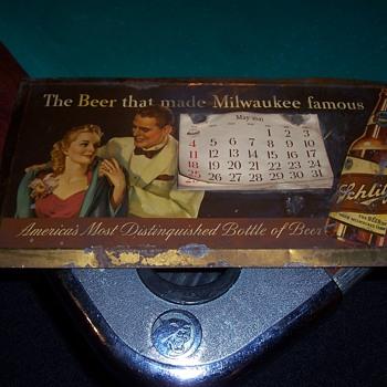 1941 SCHLITZ CALENDAR BEER SIGN - Breweriana