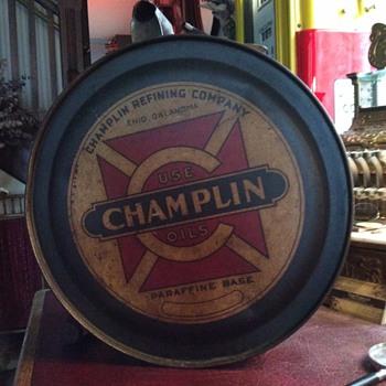 "1920's ""CHAMPLIN"" 5 gallon oil rocker can - Petroliana"