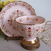 Tuscan fine bone china pink hand painted footed cup and saucer