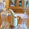 "Horn claw pitcher? wine glass with ""ice pick"" hallmark & decanters?"