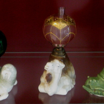 More 1880's Figural Porcelain Miniature Oil Lamps Of Quality - Pottery
