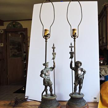 antique copper fiqurine table lamps - Lamps