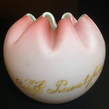 A satin glass rose bowl from Bohemia. - Art Glass