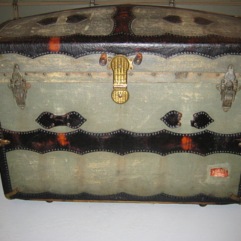 Fancy Leather Bound Round Top Trunk - Furniture