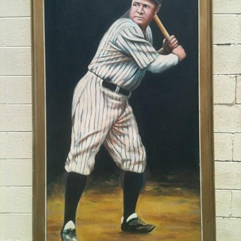 5'by 3' Oil PaintinG of Babe Ruth By: Pete J. Boruta