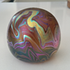 Colin Heaney Iridescent Swirl Glass Paperweight