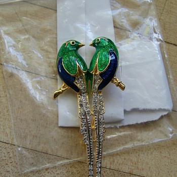 Enamel & Pave Birds Brooch ??? Help - Costume Jewelry