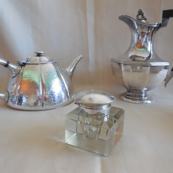 Silver Plate Coffee Server And Teapot, And Crystal and Sterling Inkwell, From Flea Market Finds! :^)  - Silver