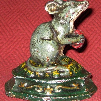Vintage Cast Iron Mouse Doorstop - Tools and Hardware
