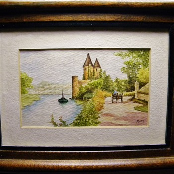 "Vintage Antique OriginalDrawing of a Castle?  Germany?  signed ""Mary"" Picture - Fine Art"