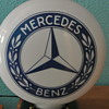 2-Sided Mercedes Benz Milk Glass Lighted Globe