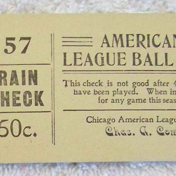 Chicago League Ball Club Rain Checks