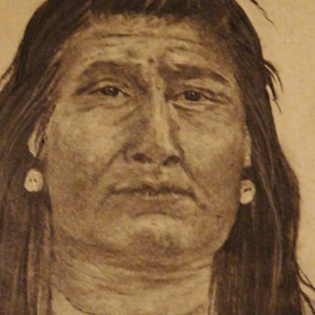 Indian Drawing By Ellie Swanson 1978 - Fine Art