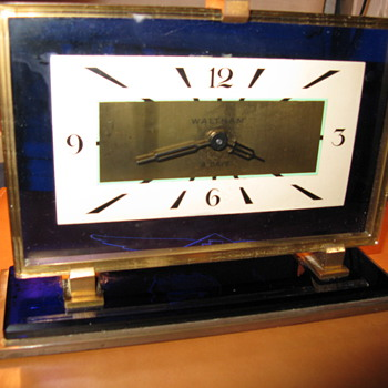Waltham Blue Glass Art Deco Clock - Clocks