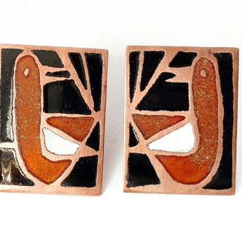 Champleve Earrings Enamel on Copper - Costume Jewelry