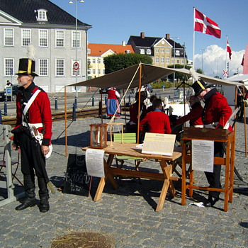 Early 19th century market reconstruction in Danish harbour town Helsingør. August 19th 2017. - Photographs