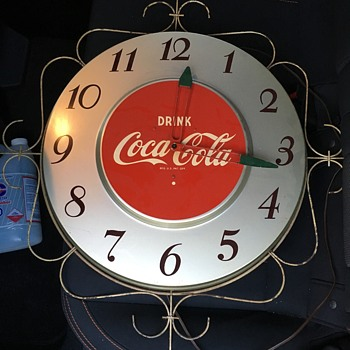 Early '50's Coca-Cola Electric Wall Clock - Silver - Coca-Cola