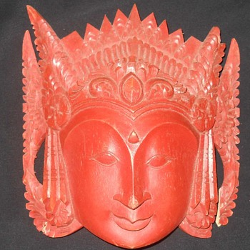 Asian Broken Wood Carved Mask Wall Hanging  - Asian