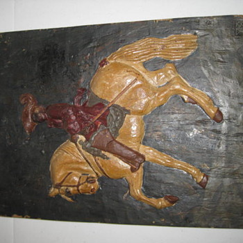 Horse & Rider Wooden Art Picture