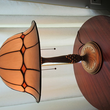 Leaded Glass Lamp Shade, Unusual Doughboy Helmet shape - Lamps