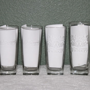 4 JACK DANIELS HI-BALL FENTON ART GLASS GLASSES - Glassware