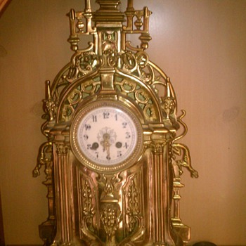 Cool Very Large Old Gothic Style Gold Clock