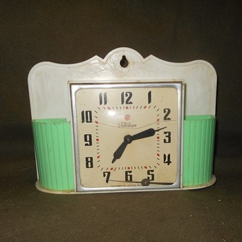 "Telechron Art Deco Wall Clock Model 2H33 ""Ivy"" with Planters? 1951-1953 - Clocks"
