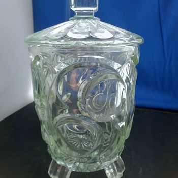 Vintage Pressed Glass Lidded Container - Glassware