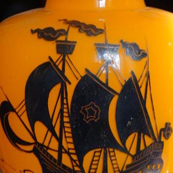Czechoslovakian Silver Overlay Orange Tango Vases With Ship Silhouette