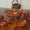 Gold and cranberry color bowl set