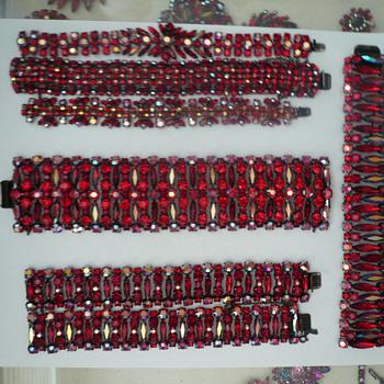 Signed Sherman Dark Siam Red, Japanned Back Rare Large Bracelet - Costume Jewelry