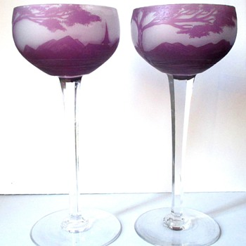 RARE LOETZ RICHARD CAMEO GOBLETS WITH DOUBLE FACTORY MARKS - Art Glass