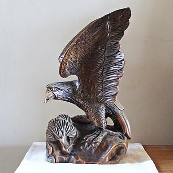 Vintage/antique(?) carved wood eagle - Animals