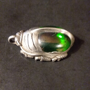Roger Wheeler pewter and glass beetle/scarab pendant, 1998 - Costume Jewelry