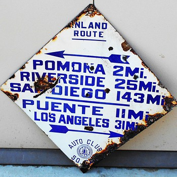 1913-1929 auto club blue diamond directional sign - Signs