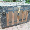 Trunk, Canvas covered ornate flat top