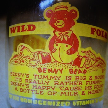 """Benny Bear"" Wild Folk Series Milk Bottle..Hamm's Dairy..Denmark Ia."