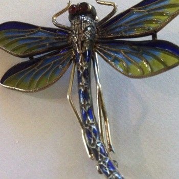 Art nouveau enamel dragonfly pin. What maker is MM? - Fine Jewelry