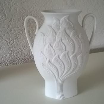 AK Kaiser Germany Bisque Porcelain Vase Signed Manfred Frey 1980s - Pottery
