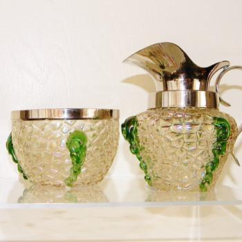 Nouveau Kralik Iridescent Martele Green Rigaree Sugar & Creamer Set - Art Glass