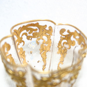 possible clear ground glass with gold on outside and inside and enamel details - Glassware
