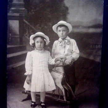 CHILDREN POSED WITH THEIR WONDERFUL ROCKING HORSE! BOY & GIRL WEAR SAME HAT. - Photographs