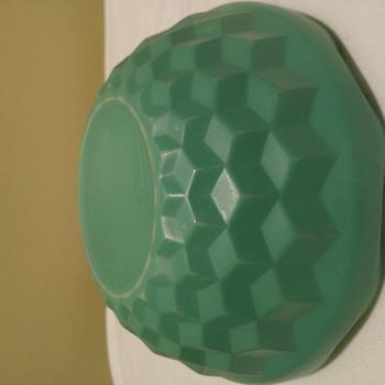 Unidentified milk glass bowl scalloped edge green three dimensional square bowl - Glassware