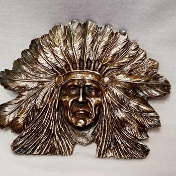 1970's Chief Sitting Bull Brass Belt Buckle - Accessories