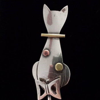Taxco Sterling Silver Cat Brooch  - Fine Jewelry