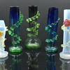 Art glass vases with vaseline rigaree. Bohemian?